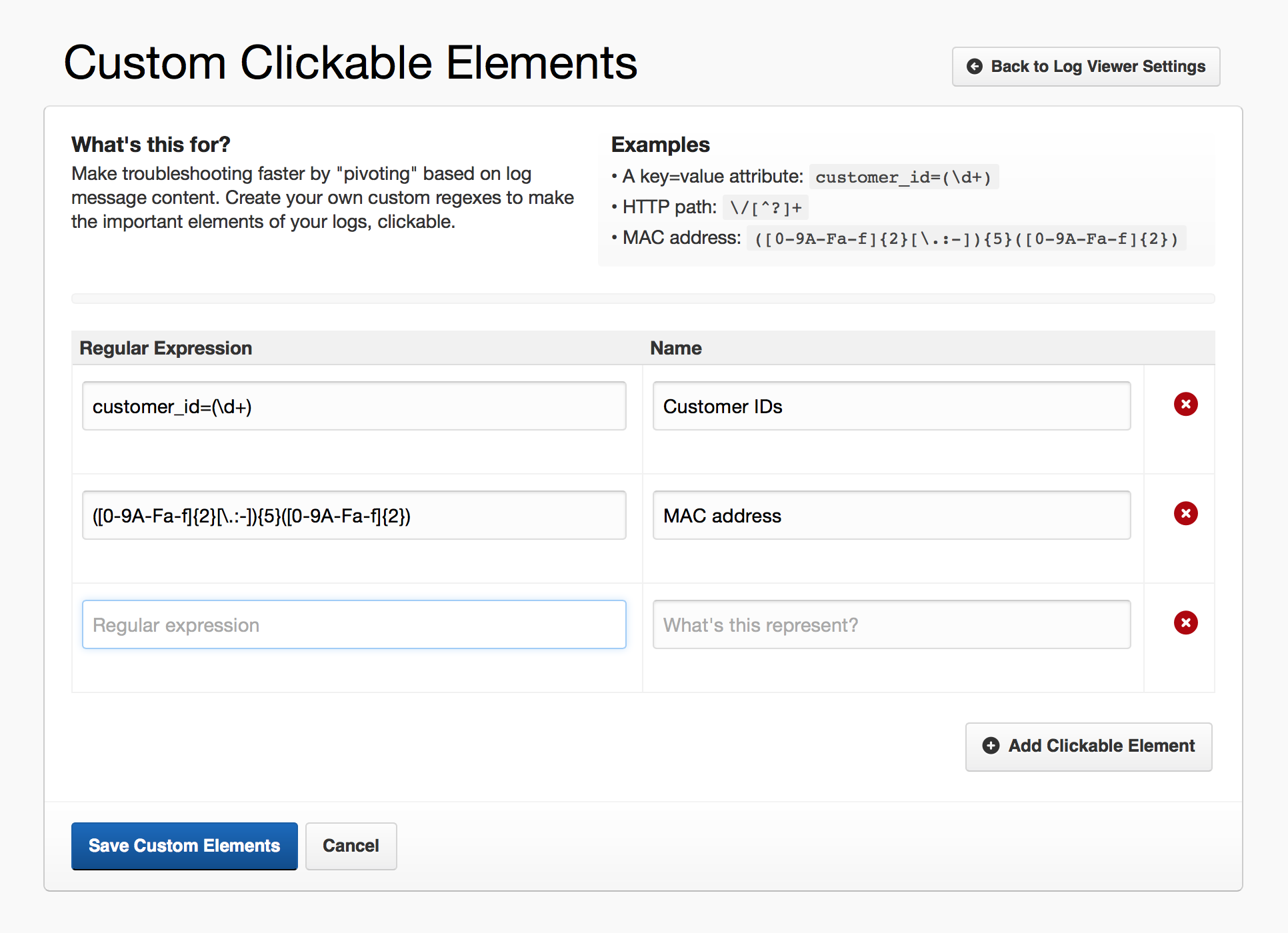 Custom clickable elements